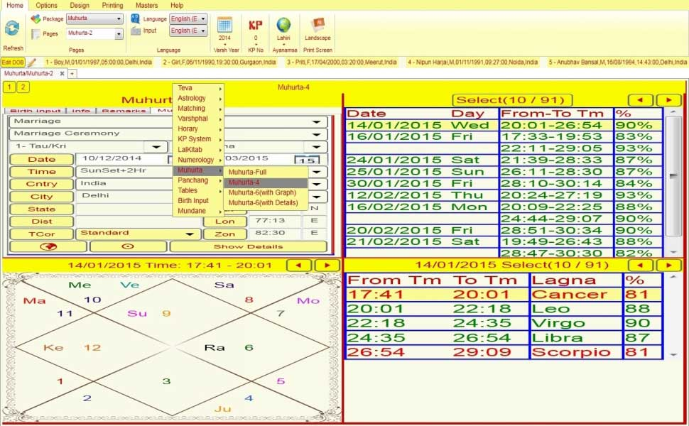 Leostar jyotish Software, Leostar Muhurat