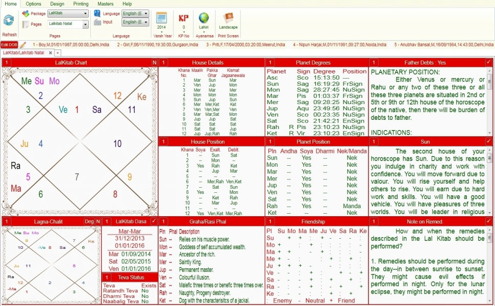 Leostar software for astrology,Varsh Kundli, Lal Kitab Kundli