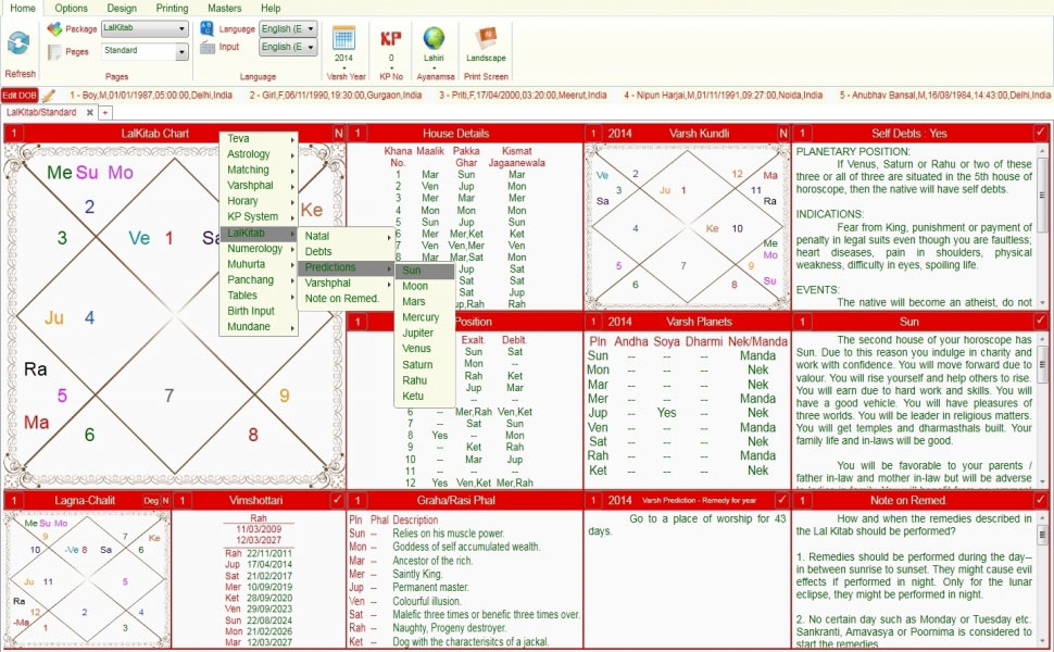 Leostar software for astrology, Lal Kitab Standard