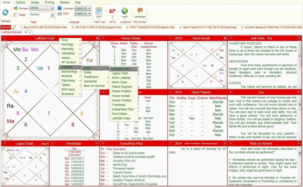 Leostar software for astrology,Varsh Kundli, Lal Kitab Standard