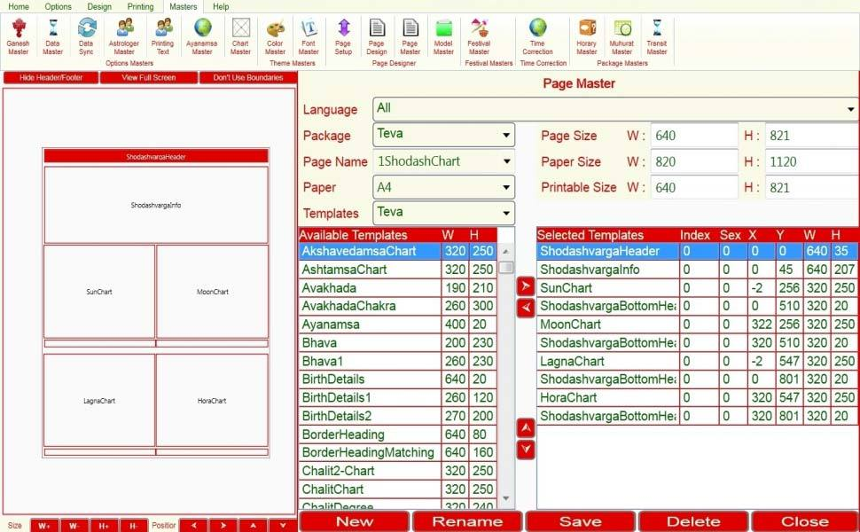 Leostar Astrological Software, Leostar master, Page Master