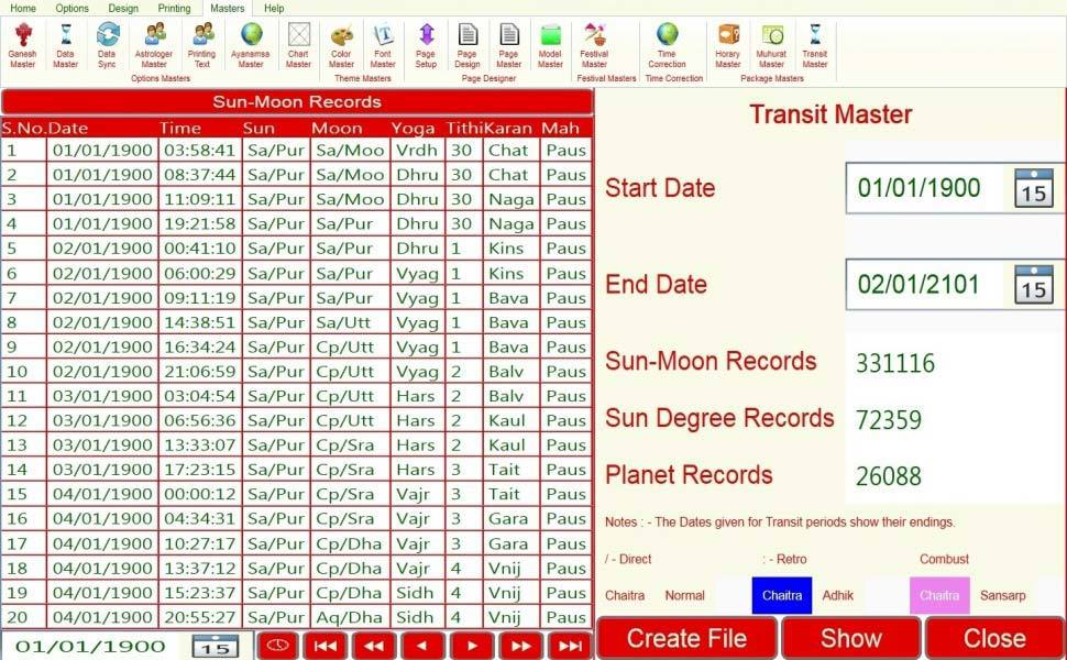 Leostar Astrological Software, Leostar master, Transit Master