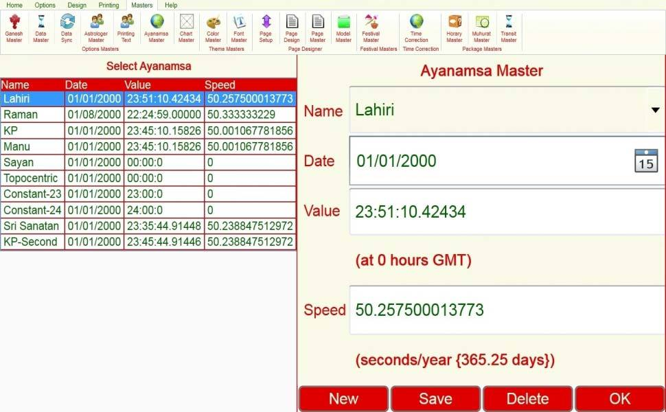 Leostar Astrological Software, Leostar master, Ayanamsa Master