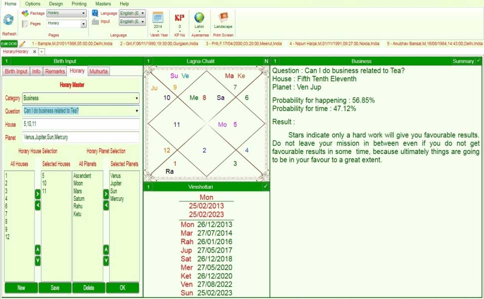 Krishnamurthy Horary Astrology Software - sevenhead