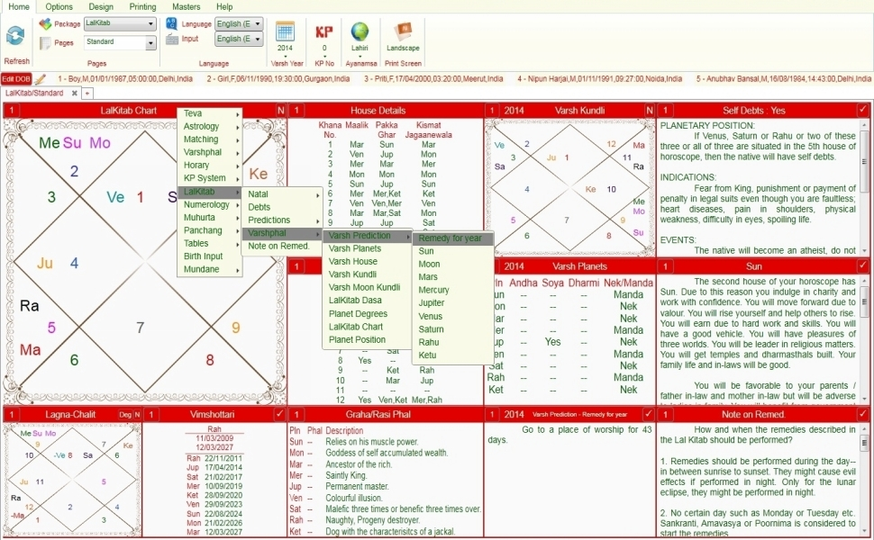 Leostar software for astrology, Lal Kitab Option Level 3