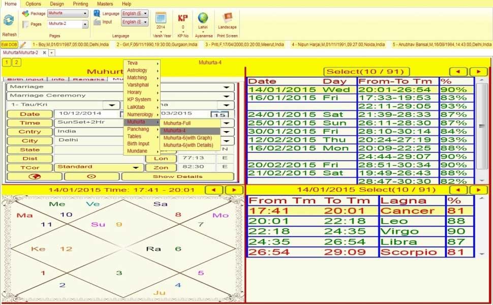 Leostar jyotish Software, Leostar Muhurat
