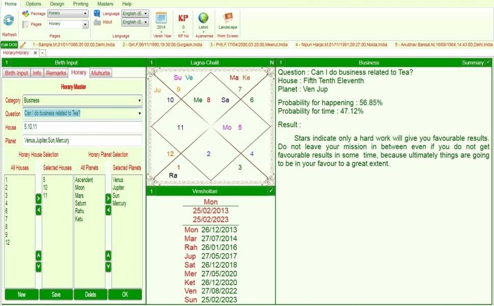 Leostar (Astro Software), Horary