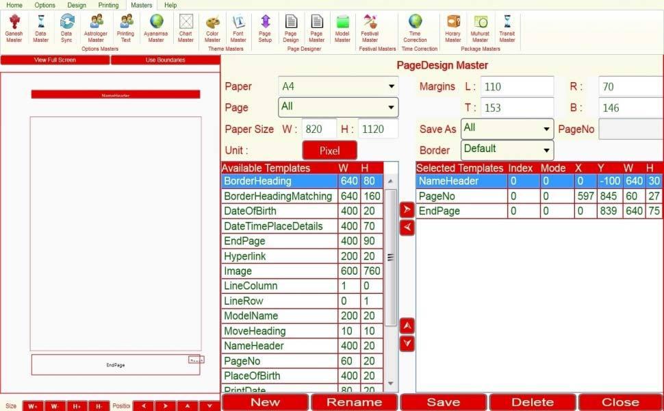 Leostar Astrological Software, Leostar master, Page Setup Master