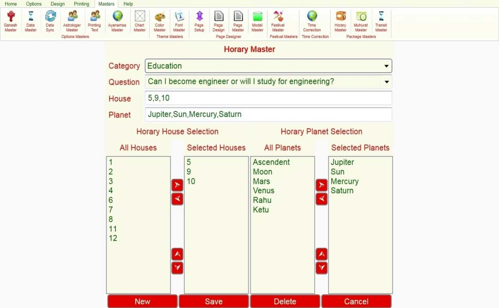 Leostar Astrological Software, Leostar master, Horary Master