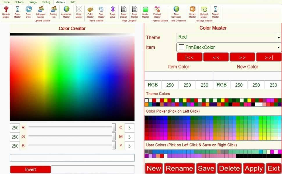 Leostar Astrological Software, Leostar master, Color Master