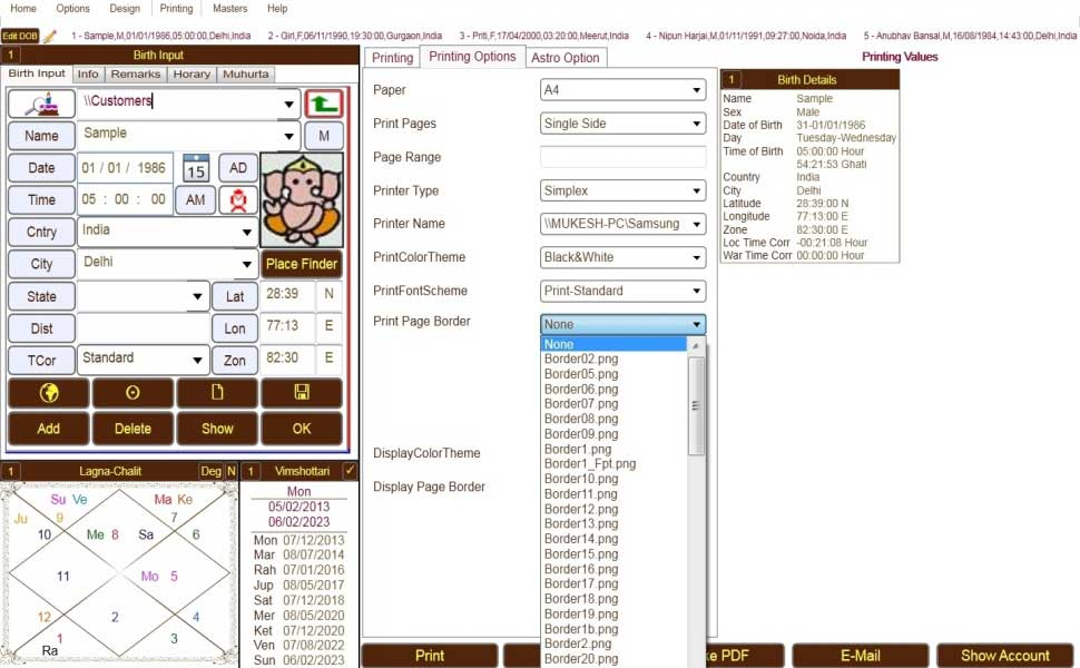 Leostar Astrology Basic, Leostar Astrology Advanced, Page selection