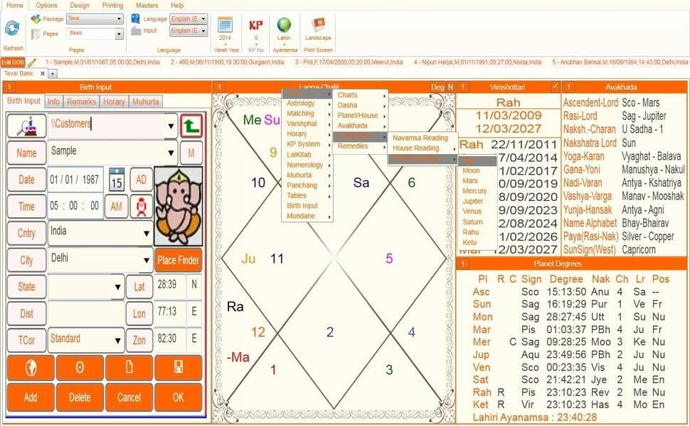 Leostar(Kundli Software) Teva, Leostar Option level 3