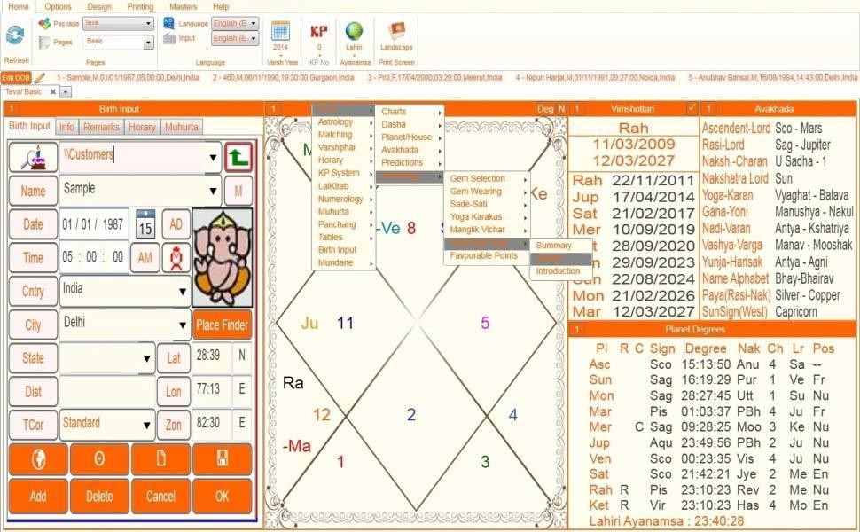 Leostar(Kundli Software) Teva, Leostar Option level 4